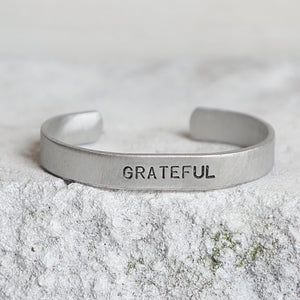 'Grateful' Aluminum Cuff