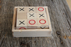 Wooden Square Tic-Tac-Toe Set