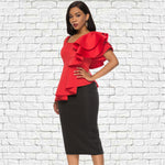 2 Piece Sets Summer Women Sexy Red Tops Black Skirts Irregular Sleeves