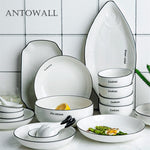 ANTOWALL Simple Nordic English Alphabet Ceramic Dishware Set