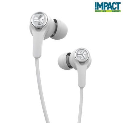 Close-up de branco Epic Executive Earbuds sem fio