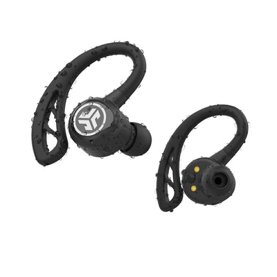 For- og bagside Nærbillede af sort Epic Air Elite True Wireless Earbuds