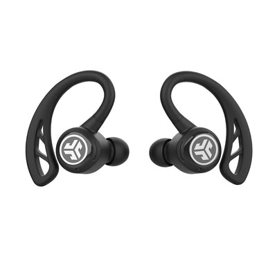 Närbild av vänster och höger svart Epic Air Elite True Wireless Earbuds