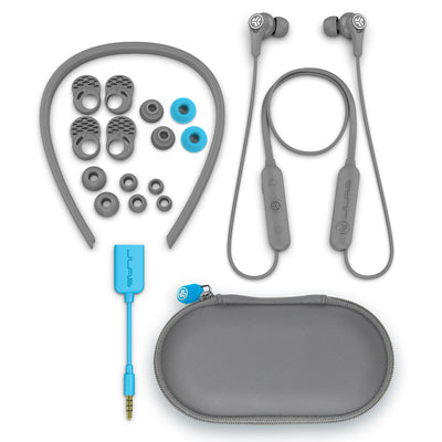 Gray Epic Executive Wireless Earbud Accessories with Neckband, Cush Fins, Ear Tips, AUX Adaptor, and Traveling Case