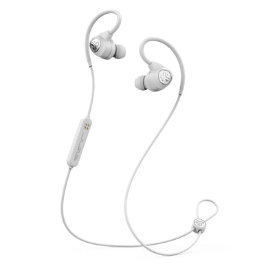 White Epic Sport Wireless Earbuds med mikrofon och kabel