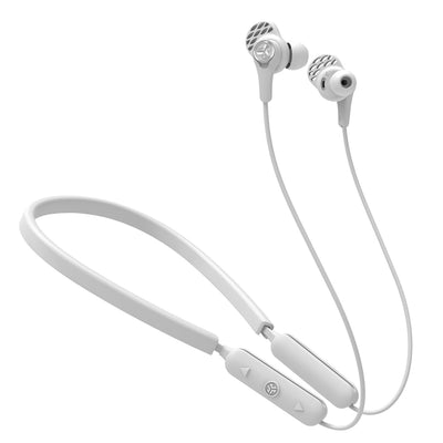 White Epic Executive Wireless Earbuds with Controls, Neckband, and Cush Fins