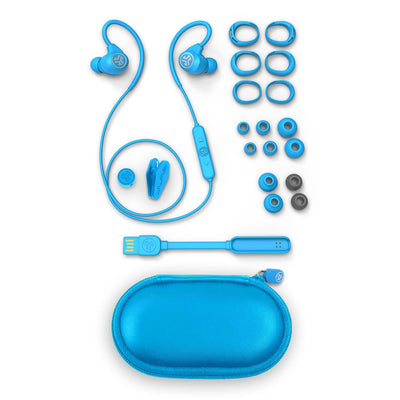 Blue Epic Sport Earbuds with All Cush Fin and Tip Sizes, Cable Clip, Charger, and Carrying Case