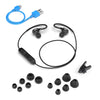 Flat Lay of Black Fit Sport 2.0 Wireless Fitness Earbuds with All Eartip Sizes, Micro USB Cable, and Shirt Cable Clip