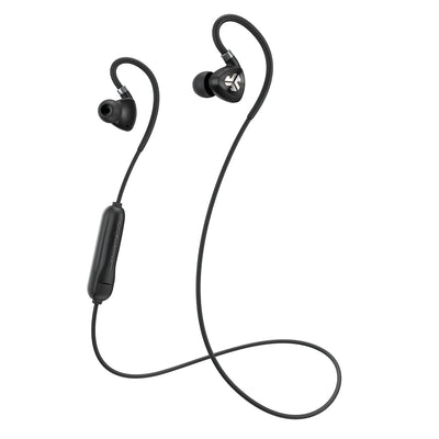Black Fit Sport 2.0 Wireless Fitness Earbuds med kabel och mikrofon
