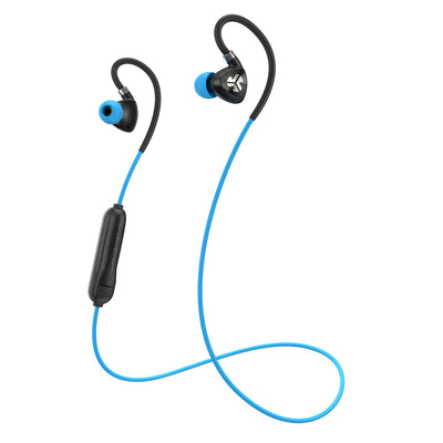 Negro y azul Fit Sport 2.0 Wireless Fitness Earbuds con cable y micrófono