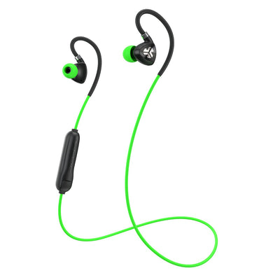 Negro y verde Fit Sport 2.0 Wireless Fitness Earbuds con cable y micrófono