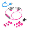 Flat Lay of Grey and Pink Fit Sport 2.0 Wireless Fitness Earbuds med alle størrelser på Eartip, Micro USB-kabel og skjorte-kabelklips