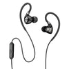Close-up de preto Fit 2.0 Sport Earbuds e microfone