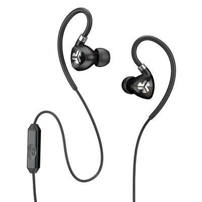 Close-up of Black Fit 2.0 Sport Earbuds and Microphone
