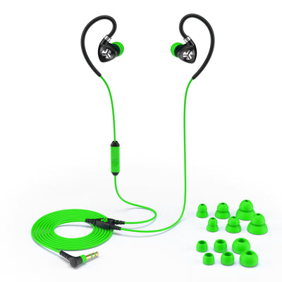 Black and Green Fit 2.0 Sport Earbuds Showing Cable and Ear Tip Sizes