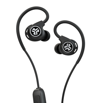 Close-up of Black Fit Sport 3 Wireless Fitness Earbuds with Cush Fins