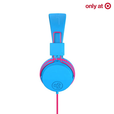 JBuddies Studio Over Ear Folding Headphones in Blue/Pink