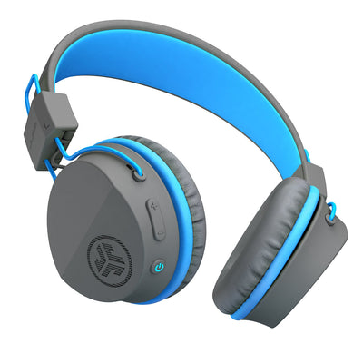 Full shot of the JBuddies Studio Bluetooth Over Ear Folding Kids Headphones in Blue