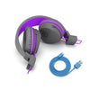 Image of folded headphones with charging cable of the JBuddies Studio Bluetooth Over Ear Folding Kids Headphones in Purple