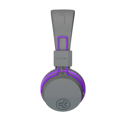 Image of side profile of the JBuddies Studio Bluetooth Over Ear Folding Kids Headphones in Purple