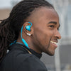Man Wearing Blue Epic Sport Wireless Earbuds