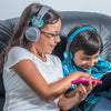 Image of kids wearing the JBuddies Studio Bluetooth Over Ear Folding Kids Heaphones in Purple