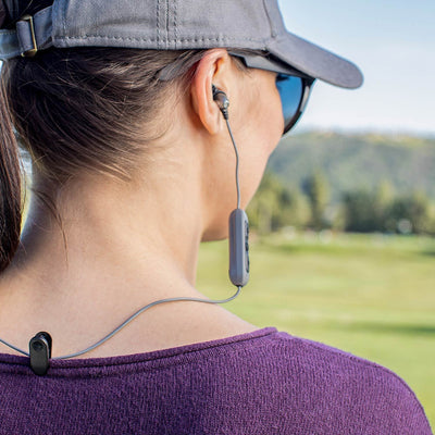Girl wearing Metal Bluetooth Rugged Earbuds side profile