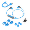 JBuds Pro Bluetooth Signature Earbuds with accessories in blue