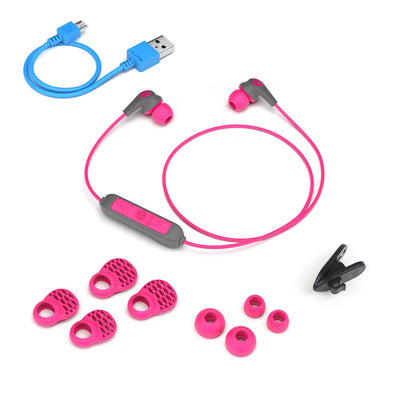 JBuds Pro Bluetooth Signature Earbuds with accessories in pink