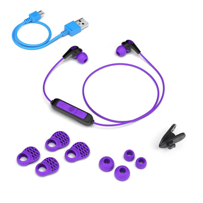 JBuds Pro Bluetooth Signature Earbuds with accessories in purple