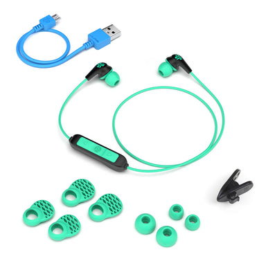 JBuds Pro Bluetooth Signature Earbuds with accessories in teal