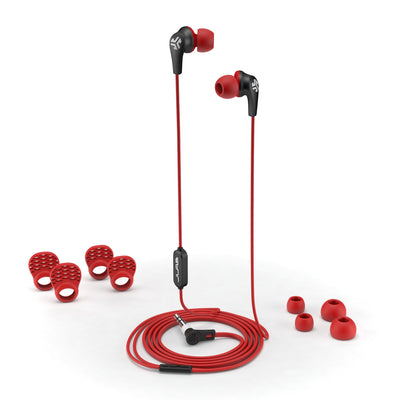 JBuds Pro Signature Earbuds in red with accessories