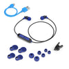 Metal Bluetooth Rugged Earbuds in blue with accessories