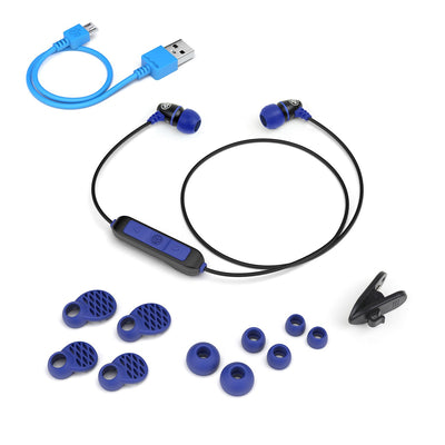 Metal Bluetooth Rugged Earbuds בכחול עם אביזרים