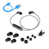 Metal Bluetooth Rugged Earbuds in silver with accessories