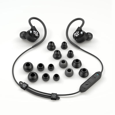 Flat Lay of Black Epic2 Bluetooth Wireless Earbud Vis alle størrelser på ørespissene