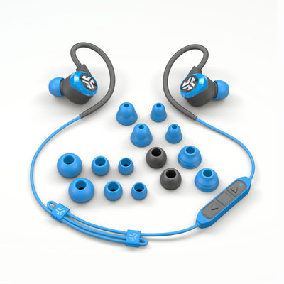 Flat Lay of Blue and Gray Epic2 Bluetooth Wireless Earbud Showing All Ear Tip Sizes