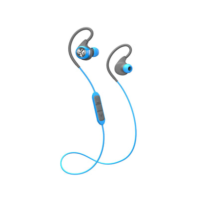 Full View of Blue and Gray Epic2 Bluetooth Wireless Earbud with Cable and Microphone