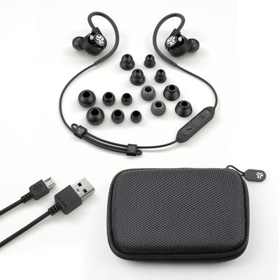 Black Epic2 Bluetooth Wireless Earbud Showing All Ear Tip Sizes, USB Charging Cable, and Carrying Case