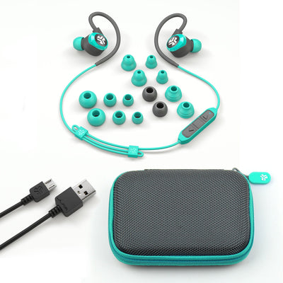Teal Epic2 Bluetooth Wireless Earbud Showing All Ear Tip Sizes, USB Charging Cable, and Carrying Case