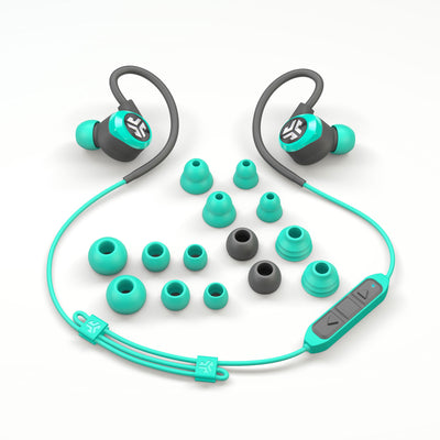 Flat Lay of Teal Epic2 Bluetooth Wireless Earbud som visar alla öronspetsstorlekar