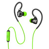 Close-up de preto e verde Fit 2.0 Fones de ouvido esportivos e microfone