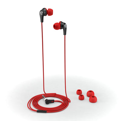 JBuds2 Signature Earbuds in red with accessories