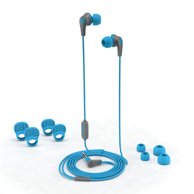 JBuds Pro Signature Earbuds in blue with accessories