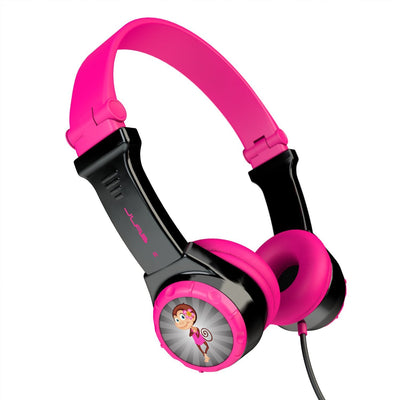 Side View of Black and Pink JBuddies Folding Kids Headphones