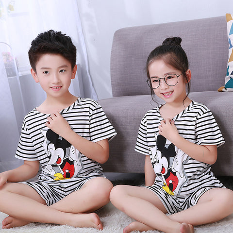 Pajamas Set for Children Summer Boys Girls Kids Home Clothing Cartoon Short Sleeve Baby Sleepwear Suit Childrens Day Gifts