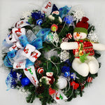 Snowman  Wreath - Multi Color Lights