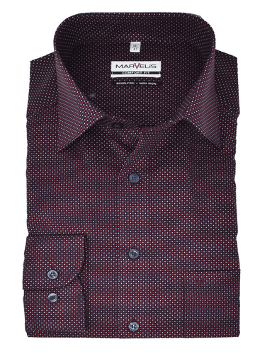 Marvelis Herren Businesshemd Comfort Fit New Kent Kragen Muster Bordeaux
