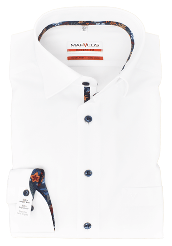 Marvelis Modern Fit Hemd  Extra langer Arm Kragen Under Button Down bügelfrei Uni Weiß reine Baumwolle
