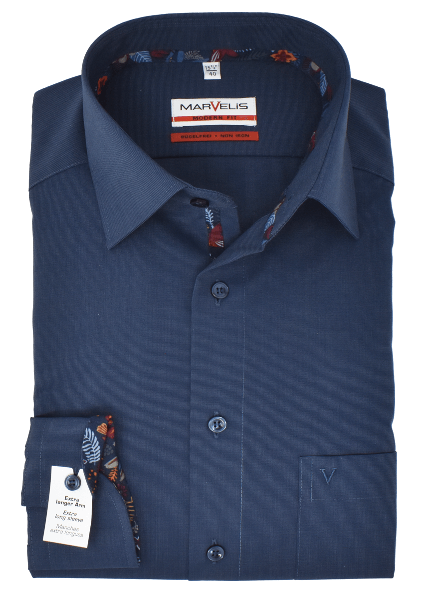 Marvelis Herren Businesshemd Modern Fit Extra langer Arm New Kent Kragen Uni Blau